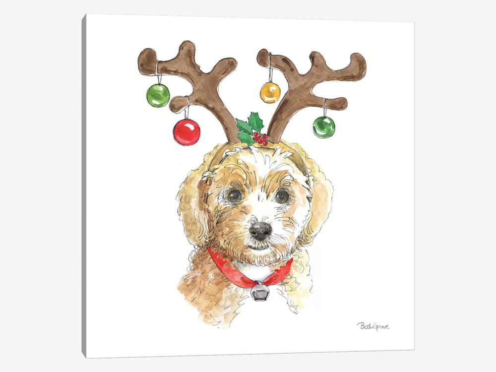 Holiday Paws VI on White by Beth Grove 1-piece Canvas Art