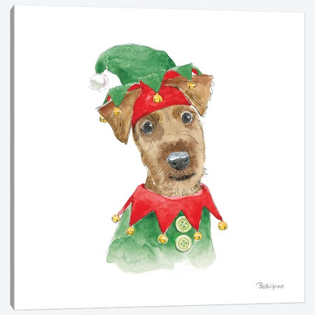 Holiday Paws VII on White Canvas Print #BEG138} by Beth Grove Canvas Print