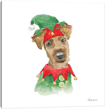 Holiday Paws VII on White Canvas Art Print