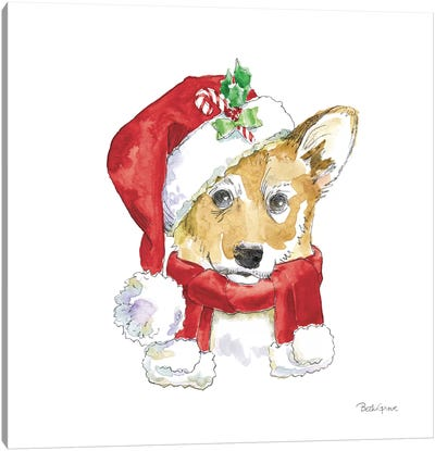 Holiday Paws VIII on White Canvas Art Print