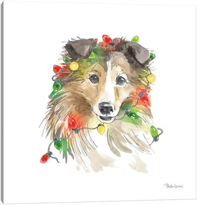 Holiday Paws IX on White Canvas Art Print