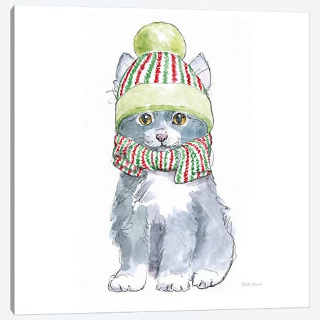 Christmas Kitties II Square Canvas Print #BEG144} by Beth Grove Canvas Art Print