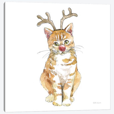 Christmas Kitties III Square Canvas Print #BEG145} by Beth Grove Canvas Print