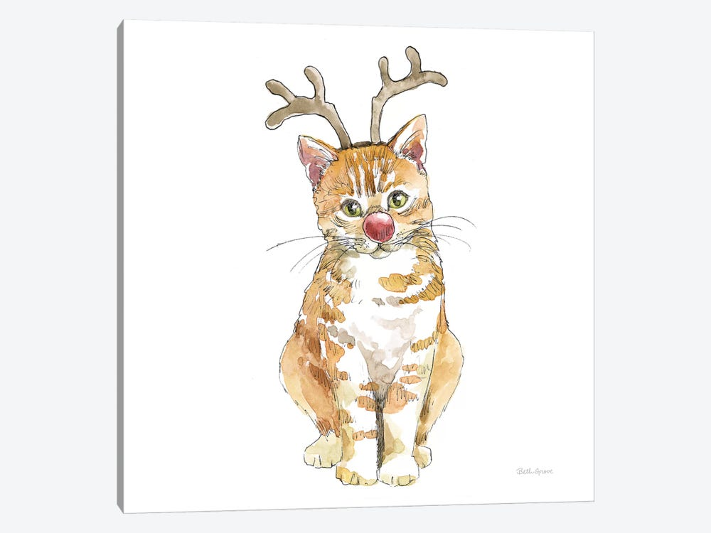 Christmas Kitties III Square by Beth Grove 1-piece Canvas Print