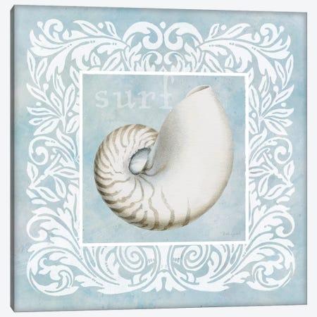Sandy Shells Blue on Blue Nautilus Canvas Print #BEG146} by Beth Grove Art Print