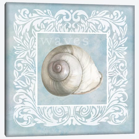 Sandy Shells Blue on Blue Snail Canvas Print #BEG147} by Beth Grove Canvas Print