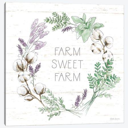 Farmhouse Cotton VIII Sage Canvas Print #BEG176} by Beth Grove Canvas Wall Art