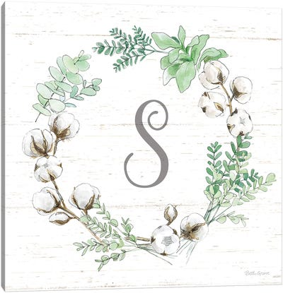 Farmhouse Cotton XI Sage Canvas Art Print