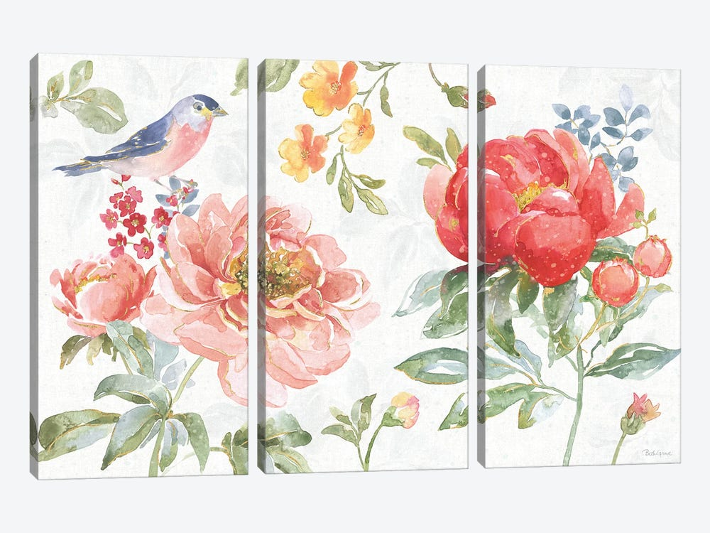 Floral Focus I by Beth Grove 3-piece Canvas Print