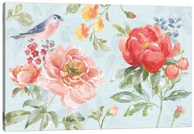 Floral Focus I Blue Canvas Art Print
