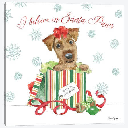 Holiday Paws II Canvas Print #BEG21} by Beth Grove Canvas Art