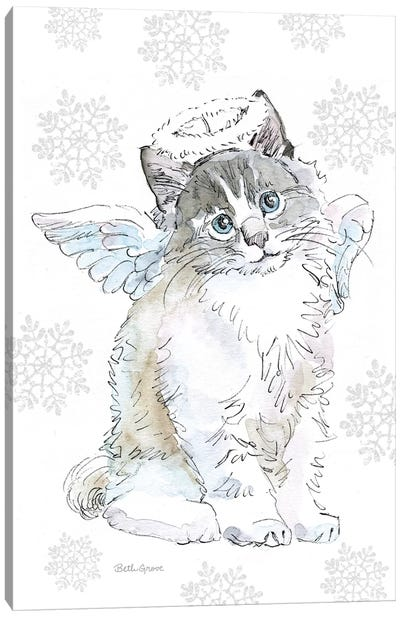Christmas Kitties I Snowflakes Canvas Art Print