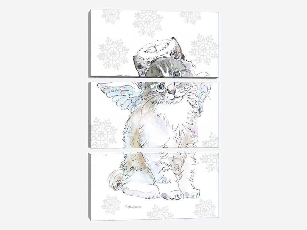 Christmas Kitties I Snowflakes by Beth Grove 3-piece Canvas Art Print