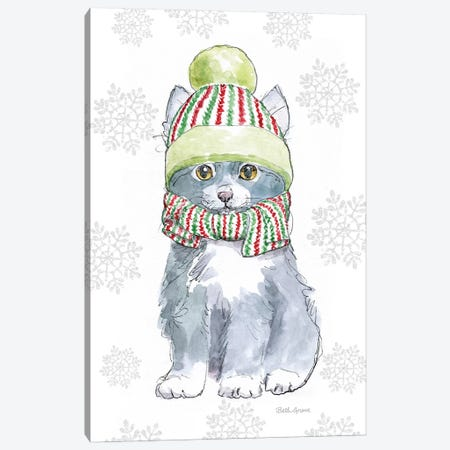 Christmas Kitties II Snowflakes Canvas Print #BEG34} by Beth Grove Canvas Wall Art