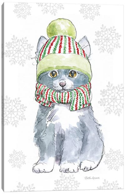 Christmas Kitties II Snowflakes Canvas Art Print