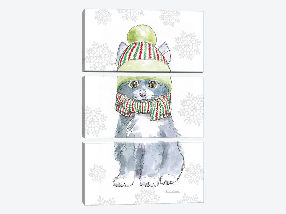 Christmas Kitties II Snowflakes by Beth Grove 3-piece Canvas Art