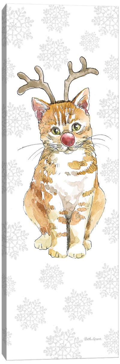 Christmas Kitties III Snowflakes Canvas Art Print