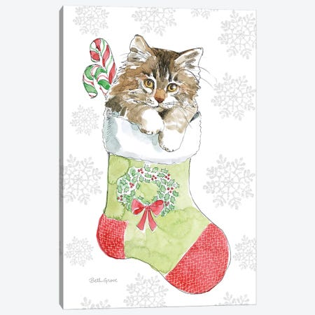 Christmas Kitties IV Snowflakes Canvas Print #BEG36} by Beth Grove Canvas Wall Art