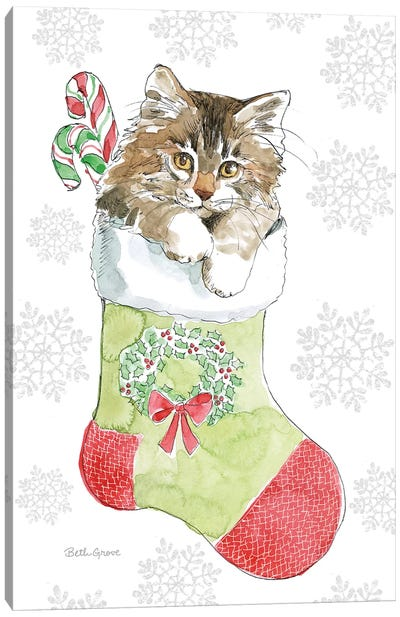 Christmas Kitties IV Snowflakes Canvas Art Print