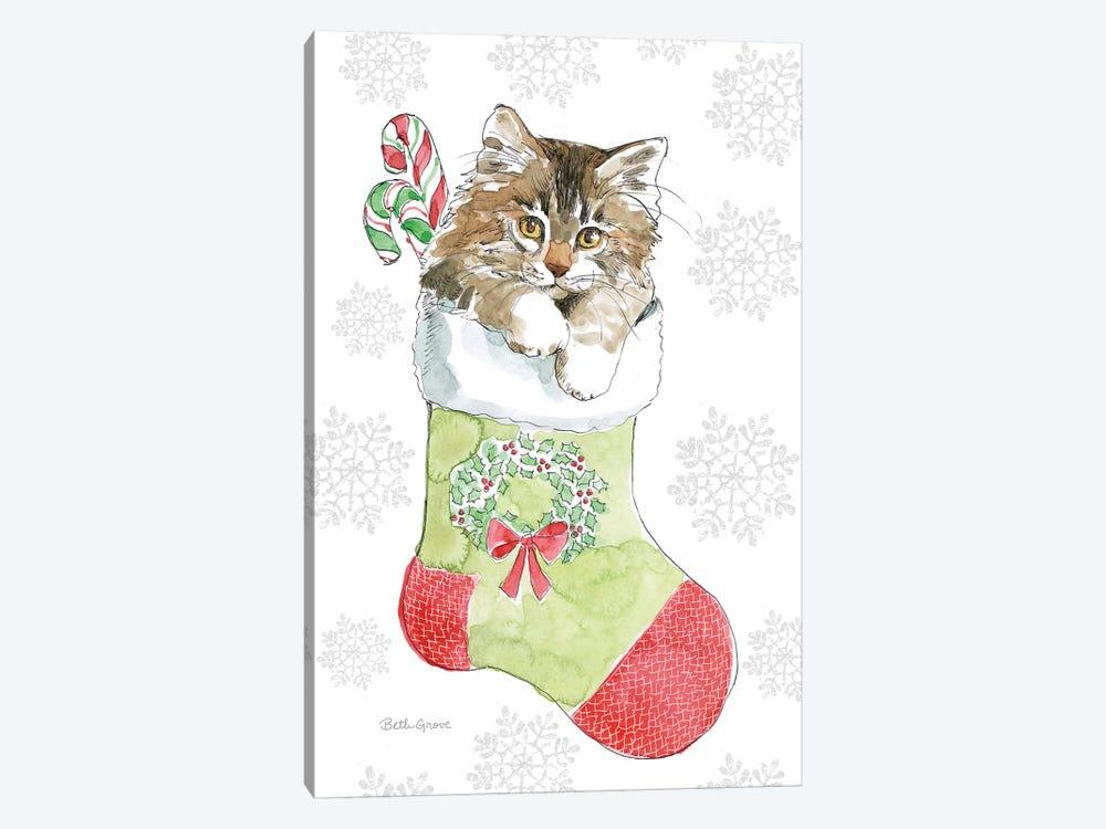 Christmas Kitties IV Snowflakes by Beth Grove 1-piece Canvas Art
