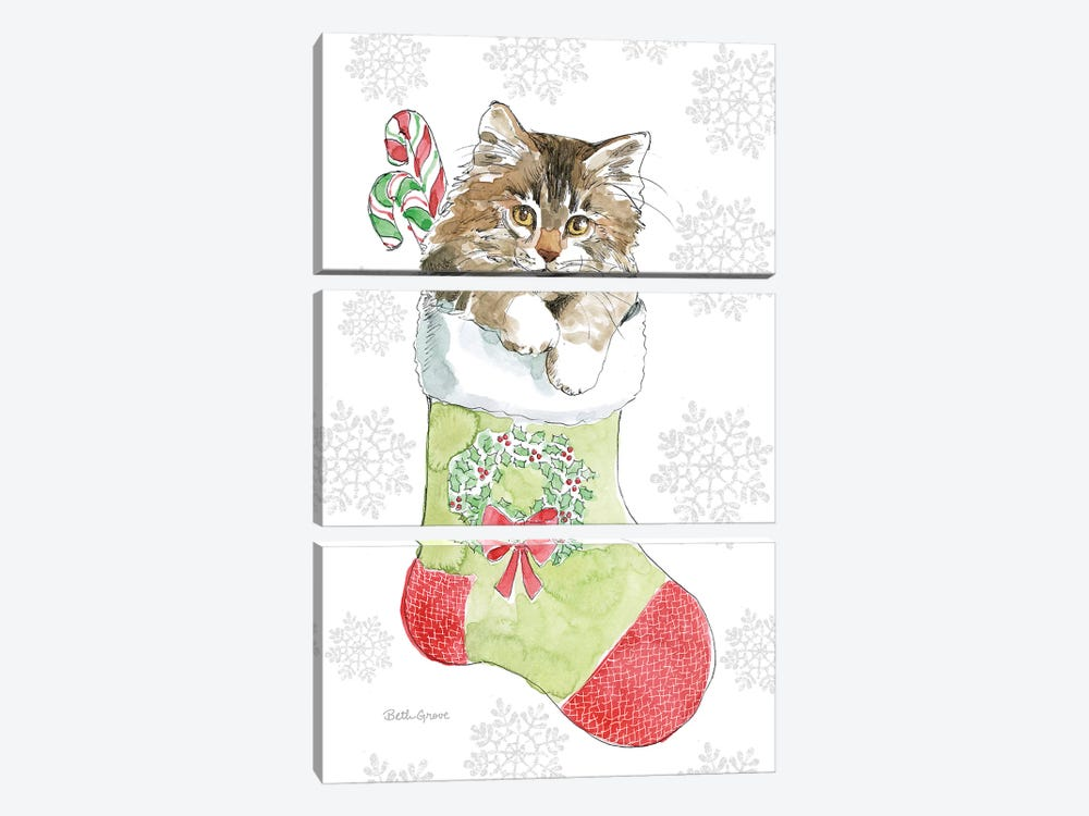 Christmas Kitties IV Snowflakes by Beth Grove 3-piece Canvas Art