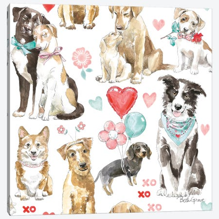Paws of Love Pattern IA Canvas Print #BEG92} by Beth Grove Canvas Art Print