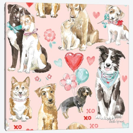 Paws of Love Pattern IB Canvas Print #BEG93} by Beth Grove Art Print