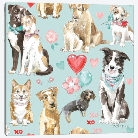 Paws of Love Pattern IC Canvas Print #BEG94} by Beth Grove Canvas Wall Art