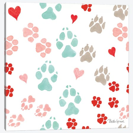 Paws of Love Pattern IIIA Canvas Print #BEG95} by Beth Grove Canvas Artwork