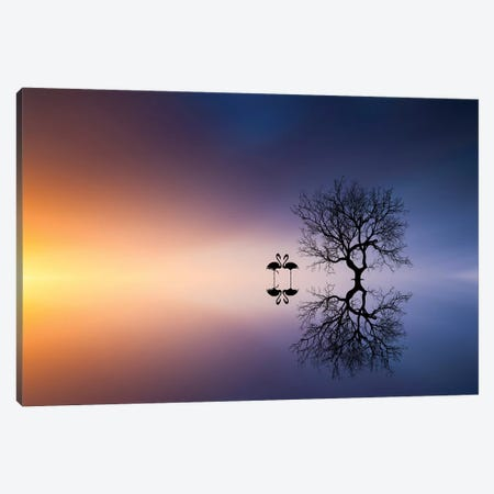 Flamingos In A Lake With A Tree Canvas Print #BEH4} by Bess Hamiti Canvas Wall Art