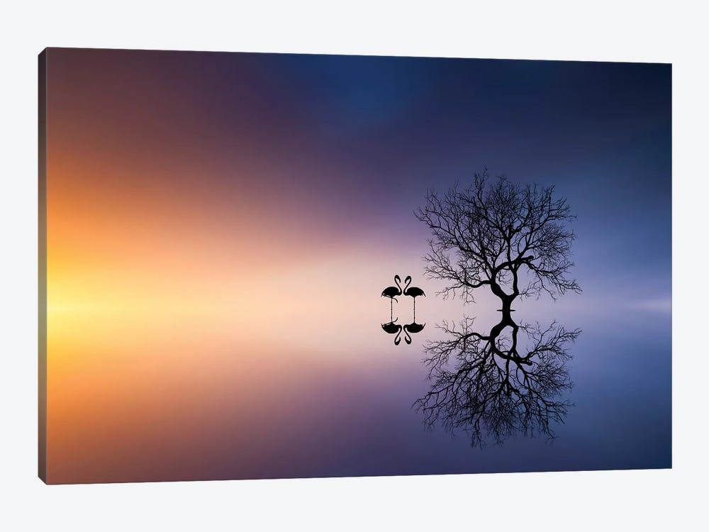 Flamingos In A Lake With A Tree by Bess Hamiti 1-piece Canvas Print