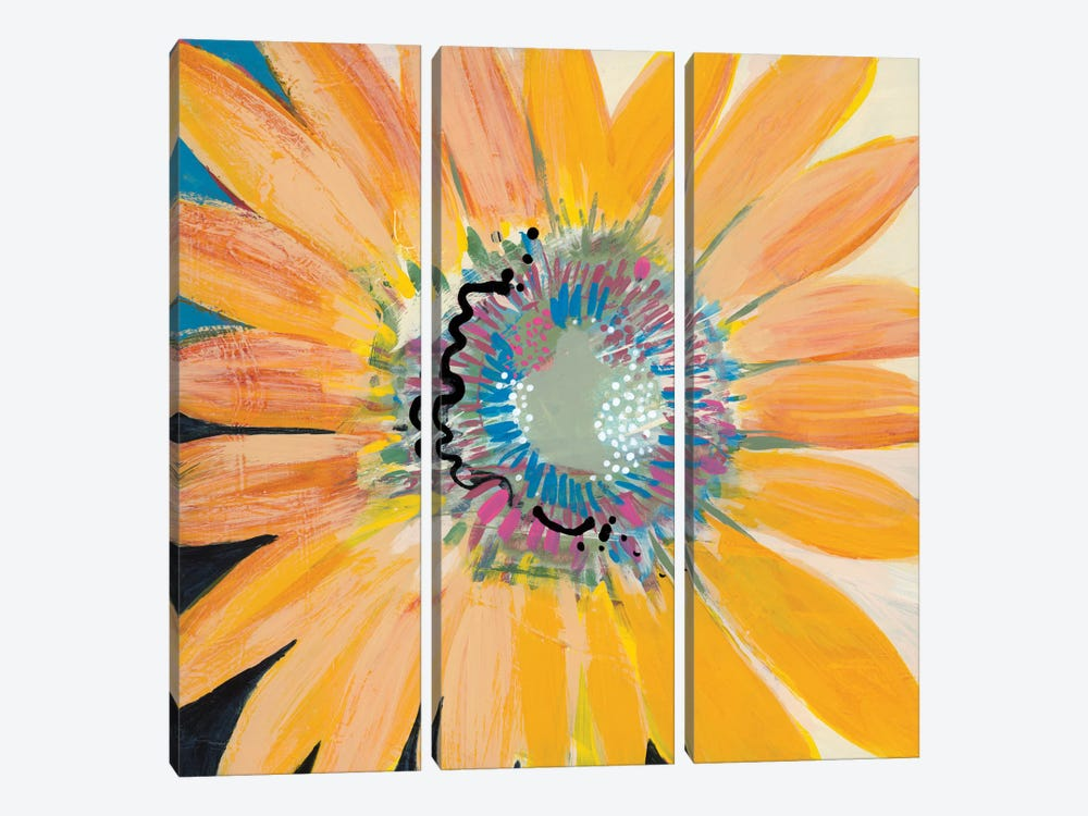 Sunshine Flower IV by Leslie Bernsen 3-piece Canvas Wall Art