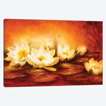 Water Lilies 3-Piece Canvas #BET7} by Betty Jansma Canvas Print