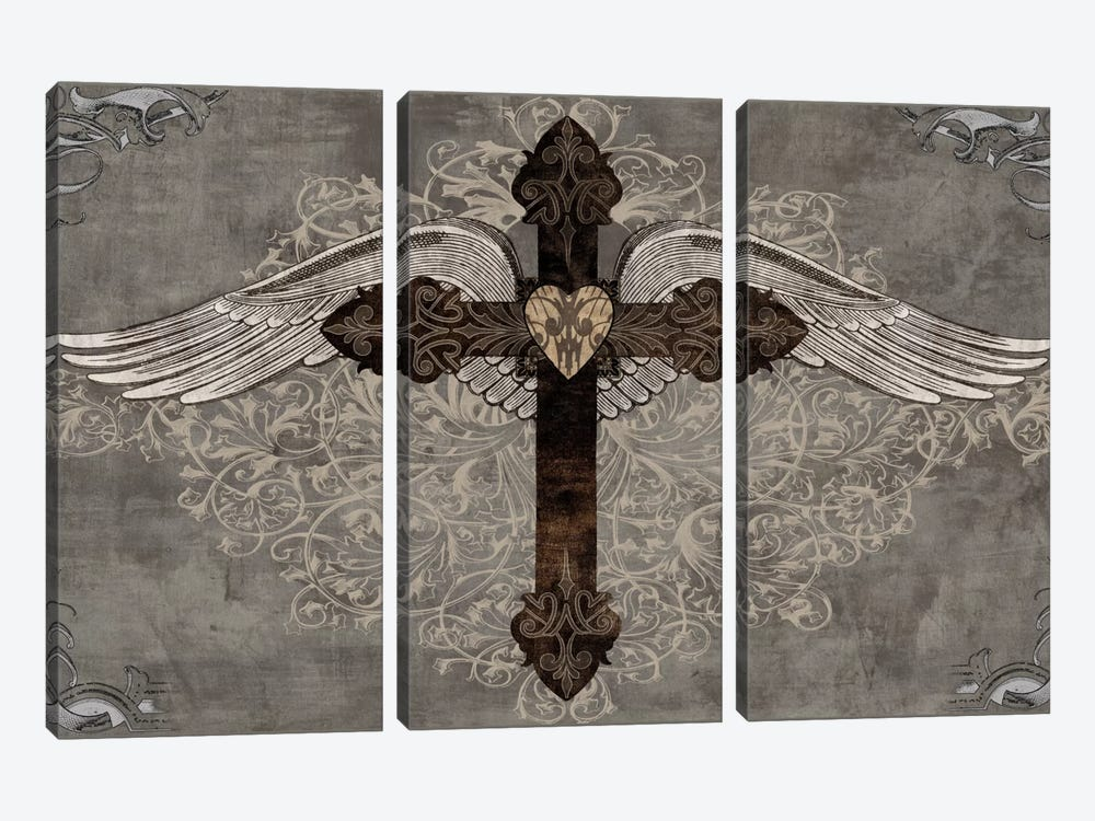 Cross With Wings by Brandon Glover 3-piece Canvas Artwork