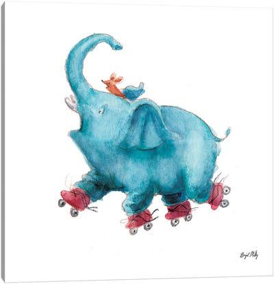 Elephant On Roller Skates Canvas Art Print