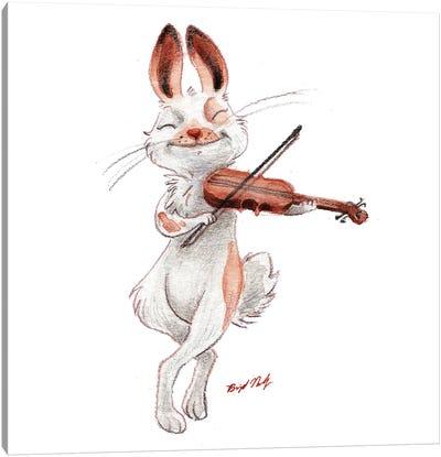 Bunny Playing Violin Canvas Art Print