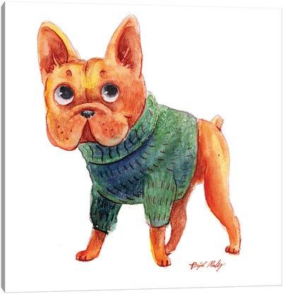 French Bulldog In Green Sweater Canvas Art Print