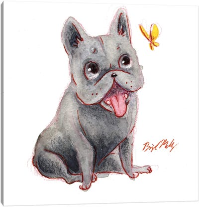 French Bulldog And Yellow Butterfly Canvas Art Print