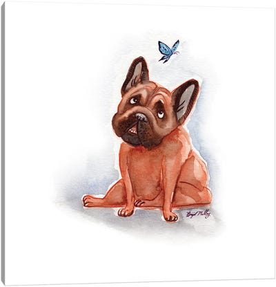 French Bulldog With Blue Butterfly Canvas Art Print