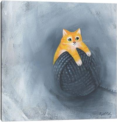 Orange Cat On Ball Of Yarn Canvas Art Print