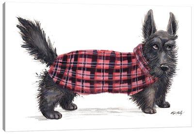 Scottie Dog In Red Sweater Vest Canvas Art Print