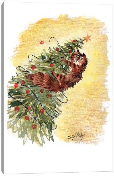 Cat In Xmas Tree Canvas Art Print