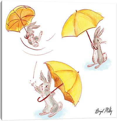 Rabbit With Yellow Umbrella Canvas Art Print