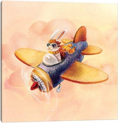 Bunny On A Plane Canvas Art Print