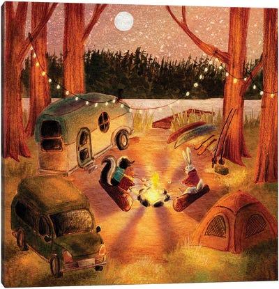 Animals Camping Canvas Art Print