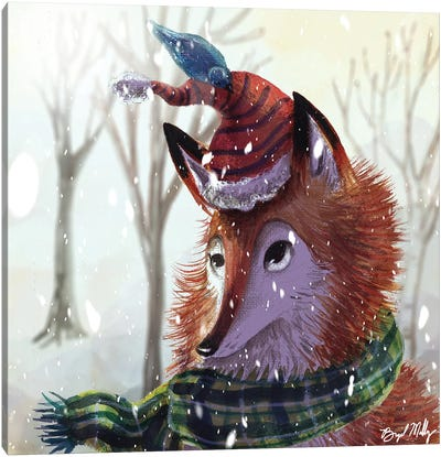 Fox And Bird Canvas Art Print