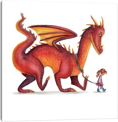 Girl And Dragon Canvas Art Print