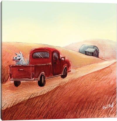 Doggo In Red Pickup Truck Canvas Art Print