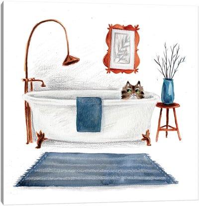 Cat In Tub Canvas Art Print