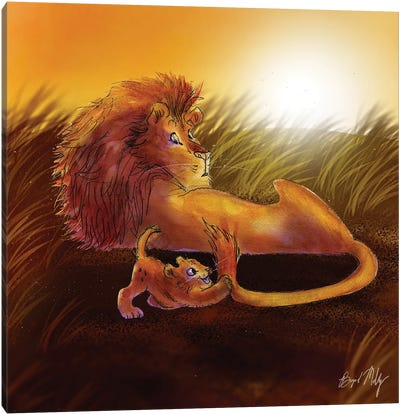 Lion And Cub Canvas Art Print